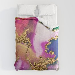 Yummy Glitter Gold and Pink Abstract Paint Textures Comforters