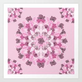 Crystals Succulents Mandala PINK Art Print