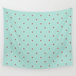 Blue with Red Dots Wall Tapestry