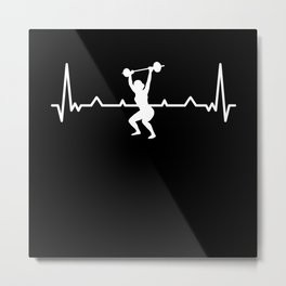 Gym Workout Weight lifting Heartbeat Metal Print