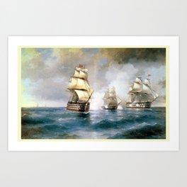 retro Brig Mercury Attacked by Two Turkish Ships Art Print