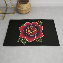 Red Rose Tattoo American Traditional Rug