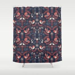 Scandinavian Floral Birds - Blue Shower Curtain