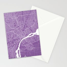 Detroit map lilac Stationery Cards