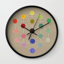 Colour cube (black point), Manual of the science of colour by W. Benson, 1871, Remake, vintage wash Wall Clock