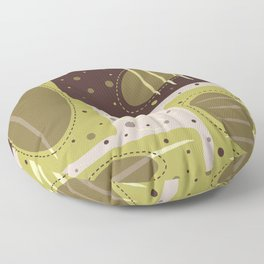 Mid Century Modern Abstract Print Geometric Circles and Rectangles Green and Brown Floor Pillow