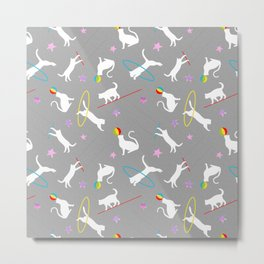 Acrobatic Cats in Grey Metal Print
