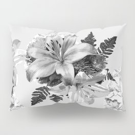 LILY SILVER GRAY WITH HYDRANGEAS AND FERNS Pillow Sham