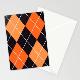 Halloween orange argyle pattern Stationery Cards