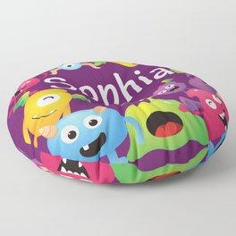 Cute & lovely monsters - Sophia (purple background) Floor Pillow