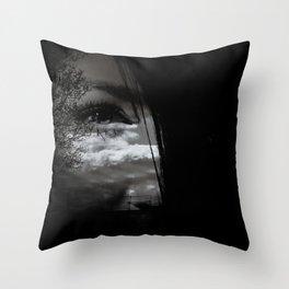 eye double exposure Throw Pillow