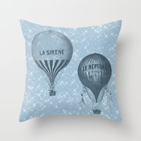 hot air balloons Throw Pillows featuring Hot Air Balloons by Zen and Chic