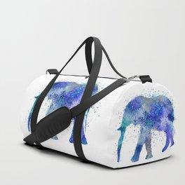 Blue Watercolor Elephant Duffle Bag