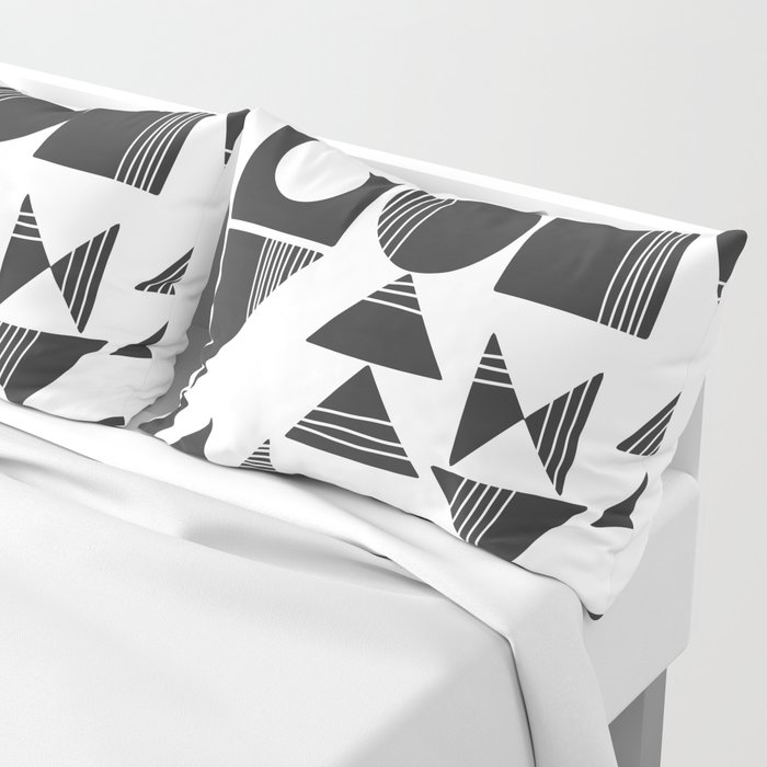 Shape and Line in Black and White Pillow Sham