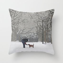 a scoop of snow Throw Pillow
