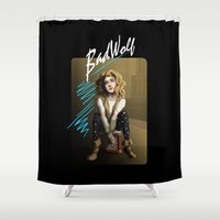 bad wolf Shower Curtains featuring Bad Wolf by mikaelak