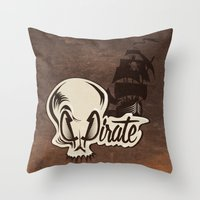 pirate Throw Pillows featuring Pirate by Tony Vazquez