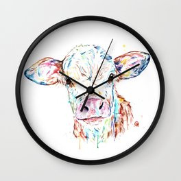 Manitoba Cow - Colorful Watercolor Painting Wall Clock