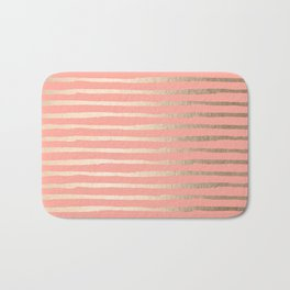 Abstract Stripes Gold Coral Pink Bath Mat