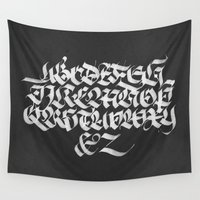 calligraphy Wall Tapestries featuring Gothic Calligraphy Alphabet (I) by Madrid is Fun