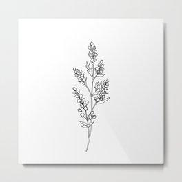 Botanical floral illustration line drawing - Mae Metal Print