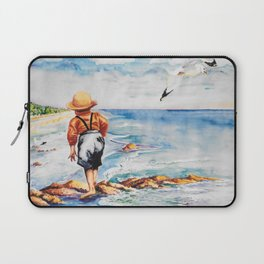 Watercolor Boy with Seagulls Laptop Sleeve