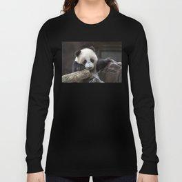 Baby panda climb a tree Long Sleeve T-shirt