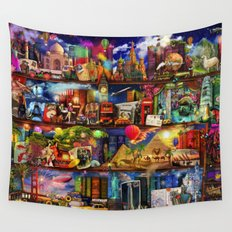 World Travel Book Shelf Wall Tapestry