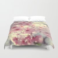 cherry blossom Duvet Covers featuring cherry blossom by Bunny Noir