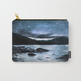 Magical Mountain Lake Steel Blue Gray Carry-All Pouch