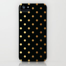 Gold polka dots on black pattern iPhone Case