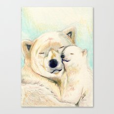 Polar bears, mother and child Canvas Print