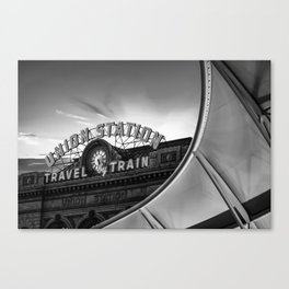 Denver Union Station Sunrise - Black and White Canvas Print