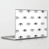 david bowie Laptop & iPad Skins featuring Eyes - David Bowie by Mariootsa
