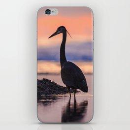 A Great Blue Heron Sunset at Cape Cove Beach Cape Perpetua, Oregon iPhone Skin