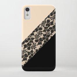 Elegant Peach Ivory Black Floral Lace Color Block iPhone Case