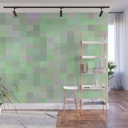 geometric square pixel pattern abstract in green and pink Wall Mural
