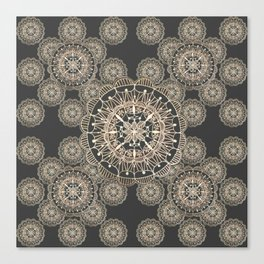 Pewter and Rose-Gold Patterned Mandalas Canvas Print