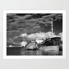 Ships at the harbor Art Print