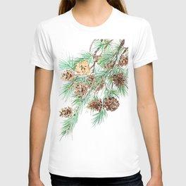 pine cones watercolor T-shirt