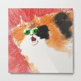 Frantic cat Metal Print