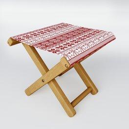 Red Winter Fair Isle Pattern Folding Stool