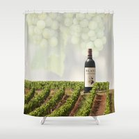 wine Shower Curtains featuring Wine by Gouzelka