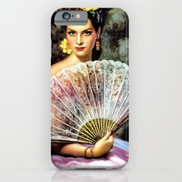 Ojos Verdes Mujer con Abanico (Green-eyed Woman with Fan) by Jesús Helguera iPhone Case