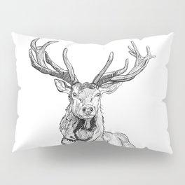 Deer in grass illustration / BW Pillow Sham