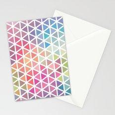 Geometric Fractal Triangles Bubblegum Rain Stationery Cards