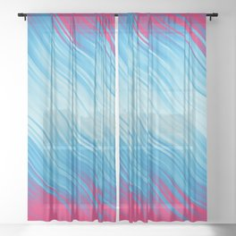 Stripes Wave Pattern 10 bp Sheer Curtain