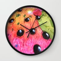 hot pink Wall Clocks featuring hot pink by Mojca G. Vesel