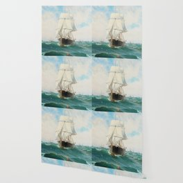 Vintage Swedish Sailboat Painting (1887) Wallpaper