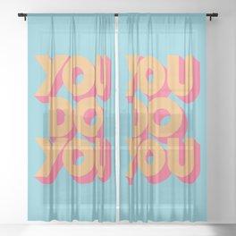 You Do You Retro Blue Sheer Curtain